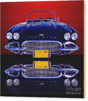 1961 Chevy Corvette Wood Print by Jim Carrell