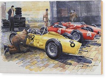 1961 Spa-francorchamps Ferrari Garage Ferrari 156 Sharknose  Wood Print by Yuriy Shevchuk