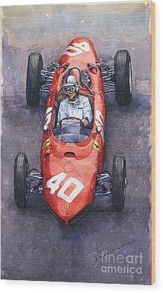 1962 Monaco Gp Willy Mairesse Ferrari 156 Sharknose Wood Print by Yuriy Shevchuk