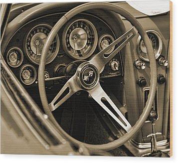 1963 Chevrolet Corvette Steering Wheel - Sepia Wood Print