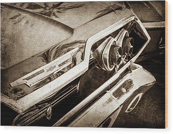 Wood Print featuring the photograph 1963 Chevrolet Taillight Emblem -0183s by Jill Reger