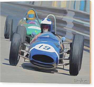 1963 Cooper T66 Coming Out Of Monaco's Mirabeau Wood Print by Wally Hampton