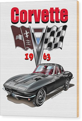 Wood Print featuring the mixed media 1963 Corvette With Split Rear Window by Thomas J Herring