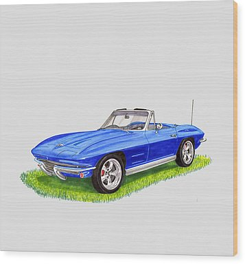 Wood Print featuring the painting 1964 Corvette Stingray by Jack Pumphrey