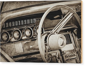 Wood Print featuring the photograph 1964 Ford Thunderbird Steering Wheel -0280s by Jill Reger