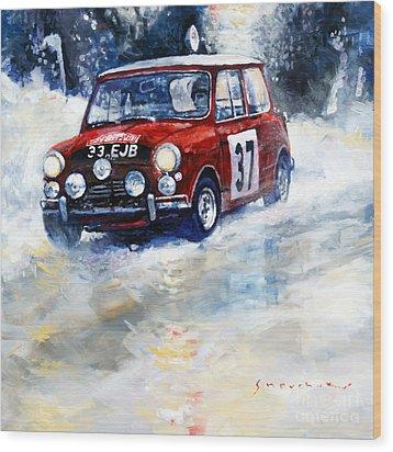 1964 Rallye Monte Carlo Mini Cooper S Hopkirk Liddon Winner Wood Print by Yuriy Shevchuk