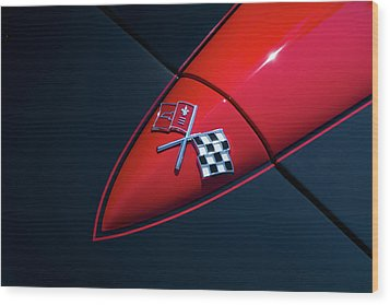 Wood Print featuring the photograph 1965 Corvette Hood by Joel Witmeyer