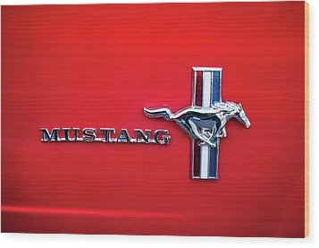1965 Ford Mustang Emblem 4 Wood Print by Jill Reger