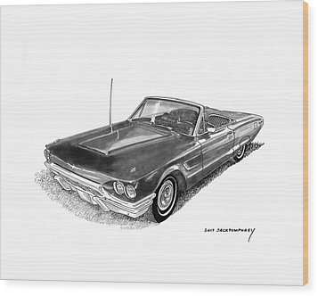 Wood Print featuring the drawing 1965 Thunderbird Convertible By Ford by Jack Pumphrey