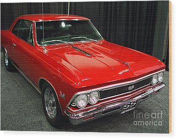 1966 Chevy Chevelle Ss 396 . Red . 7d9278 Wood Print by Wingsdomain Art and Photography