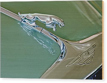 1966 Jaguar Hood Ornament Wood Print by Jill Reger