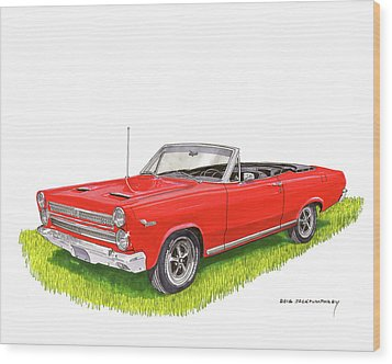 Wood Print featuring the painting 1966 Mercury Cyclone Convertible G T by Jack Pumphrey