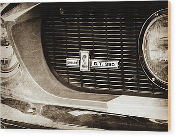 Wood Print featuring the photograph 1967 Ford Gt 350 Shelby Clone Grille Emblem -0759s by Jill Reger