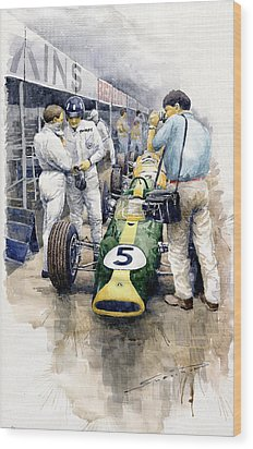 1967 Lotus 49t Ford Coswoorth Jim Clark Graham Hill Wood Print by Yuriy Shevchuk