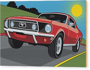 Wood Print featuring the digital art 1968 Ford Mustang Sunday Cruise by Ron Magnes