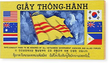 Wood Print featuring the painting 1968 Vietnam War Safe Conduct Pass by Historic Image