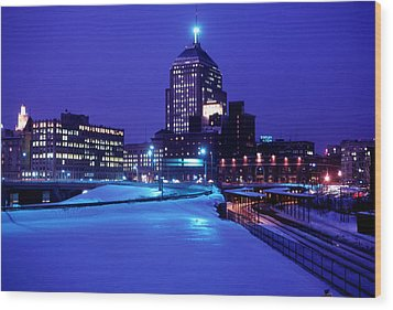 Wood Print featuring the photograph  1969 Boston Twilight by Historic Image