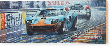 1969 Le Mans 24 Ford Gt 40 Ickx Oliver Winner  Wood Print by Yuriy Shevchuk