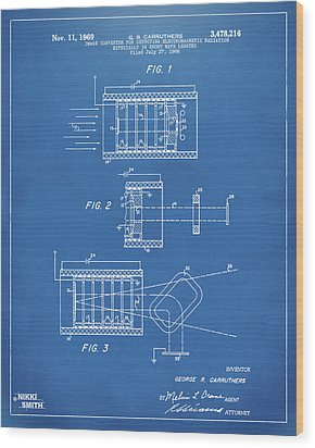 Wood Print featuring the digital art 1969 Short Wave Electromagnetic Radiation Patent Blueprint by Nikki Marie Smith