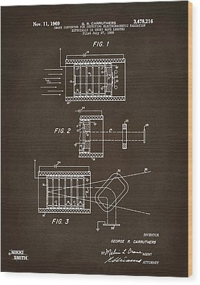 Wood Print featuring the digital art 1969 Short Wave Electromagnetic Radiation Patent Espresso by Nikki Marie Smith