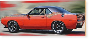 1970 Dodge Challenger Srt Wood Print by Maria Urso