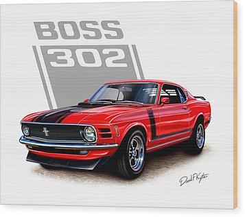 1970 Mustang Boss 302 Red Wood Print by David Kyte