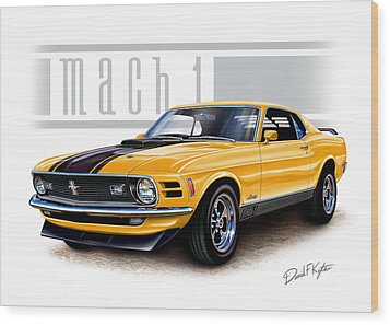 1970 Mustang Mach 1 In Yellow Wood Print by David Kyte