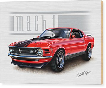 1970 Mustang Mach 1 Red Wood Print by David Kyte