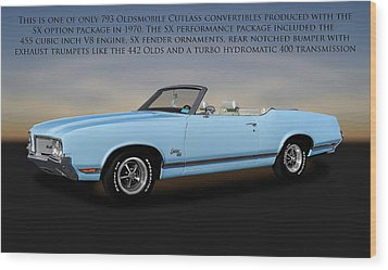 Wood Print featuring the photograph 1970 Oldsmobile Cutlass Sx 455 Convertible   -   1970cutlasssxwithtext170496 by Frank J Benz