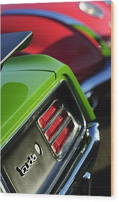 1970 Plymouth Barracuda Cuda Taillight Emblem Wood Print by Jill Reger