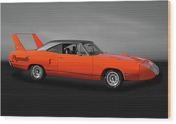 Wood Print featuring the photograph 1970 Plymouth Road Runner Superbird  -  1970plysuperbirdgry170528 by Frank J Benz