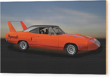 Wood Print featuring the photograph 1970 Plymouth Road Runner Superbird  -  1970superbird170528 by Frank J Benz