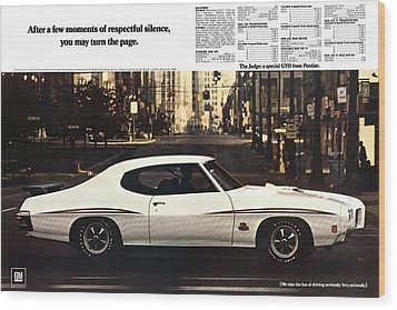 1970 Pontiac Gto The Judge  Wood Print by Digital Repro Depot