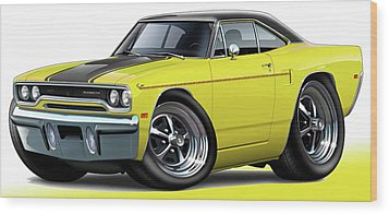 1970 Roadrunner Yellow Car Wood Print by Maddmax