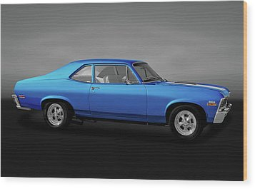 Wood Print featuring the photograph 1971 Chevrolet Nova Super Sport 350   -  1971chevynovassgry170507 by Frank J Benz