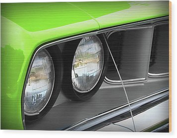 1971 Plymouth Barracuda Cuda Sublime Green Wood Print by Gordon Dean II