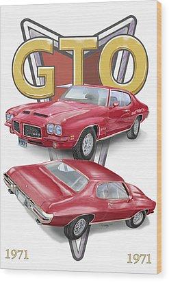 1971 Pontiac Gto Wood Print by Thomas J Herring