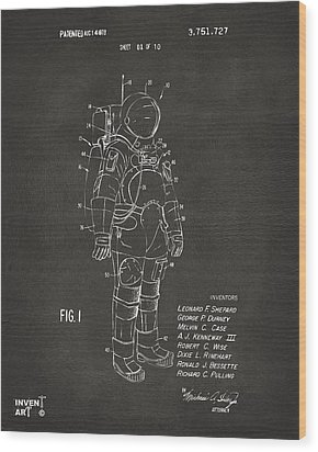1973 Space Suit Patent Inventors Artwork - Gray Wood Print