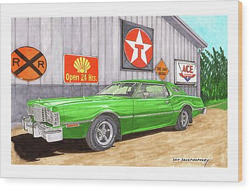 Wood Print featuring the painting 1976 Ford Thunderbird by Jack Pumphrey