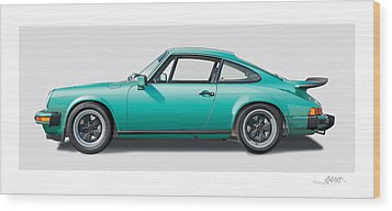 1976 Porsche Euro Carrera 2.7 Illustration Wood Print