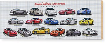 Wood Print featuring the drawing 1978 - 2011 Special Edition Corvettes by K Scott Teeters