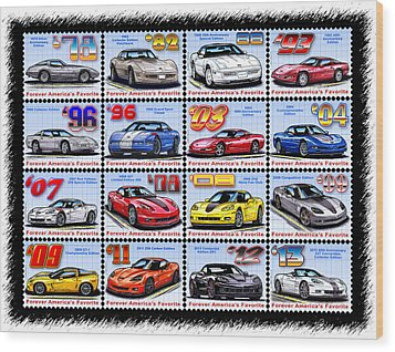 1978 - 2013 Special Edition Corvette Postage Stamps Wood Print by K Scott Teeters
