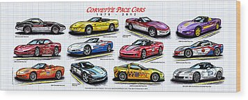 1978 - 2012 Indy 500 Pace Car Corvettes Wood Print by K Scott Teeters