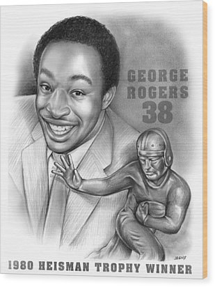 1980 Heisman Winner Wood Print by Greg Joens