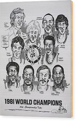 1981 Boston Celtics Championship Newspaper Poster Wood Print by Dave Olsen