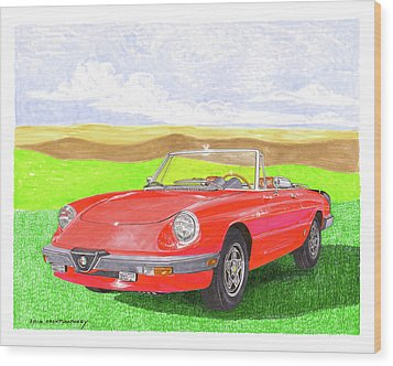 Wood Print featuring the painting 1983 Alfa Romero Spider Veloce by Jack Pumphrey