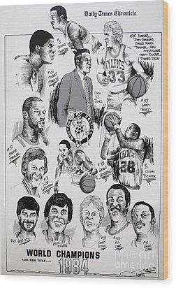 1984 Boston Celtics Championship Newspaper Poster Wood Print by Dave Olsen