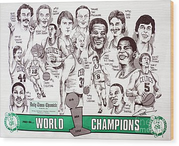 1986 Boston Celtics Championship Newspaper Poster Wood Print by Dave Olsen