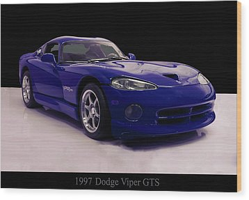Wood Print featuring the digital art 1997 Dodge Viper Gts Blue by Chris Flees