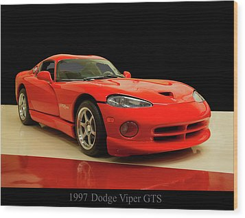 Wood Print featuring the digital art 1997 Dodge Viper Gts Red by Chris Flees